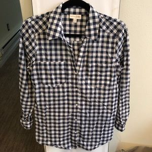 Blue and white checkered button down